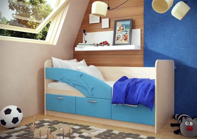 """Детская кровать """"Дельфин №3"""" 1,6 м., 3 ящика с ручками - фото 12556"""