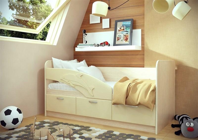 """Детская кровать """"Дельфин №3"""" 1,8 м., 3 ящика с ручками - фото 12587"""