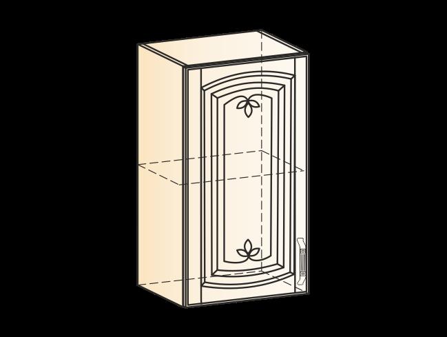 """""""Шкаф навесной L400 H720 (1 дв. гл.) (эмаль) """"Бергамо"""" с фризой"""