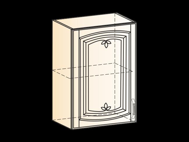 """Шкаф навесной L500 H720 (1 дв. гл.) (эмаль) """" Бергамо"""" - фото 14364"""