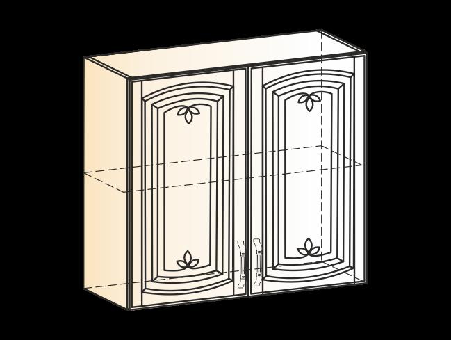 """Шкаф навесной L800 H720 (2 дв. гл.) (эмаль) с фреской """"Бергамо"""""""