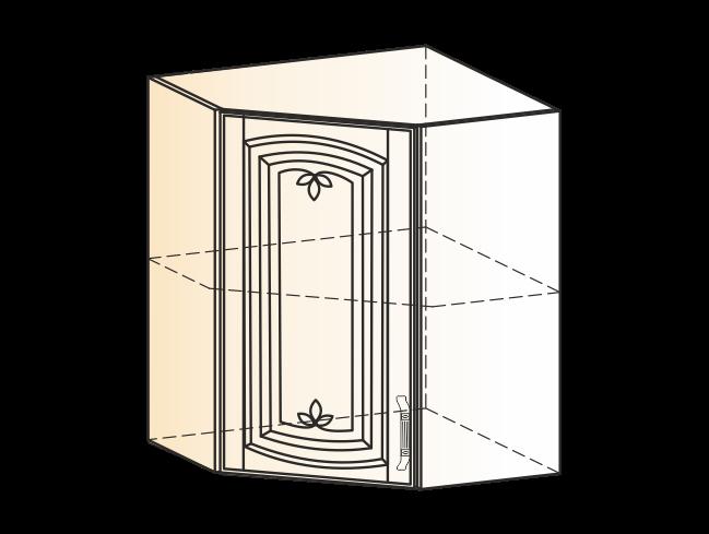 """""""Шкаф навесной угл L600х600 H720 (1 дв. гл.) (эмаль) """"Бергамо"""""""