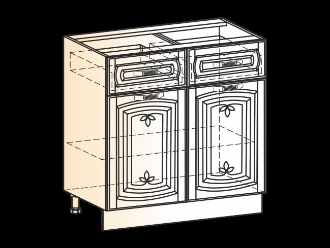 """Шкаф рабочий L800 (2 дв. гл. 2 ящ.) (эмаль) """"Бергамо"""""""