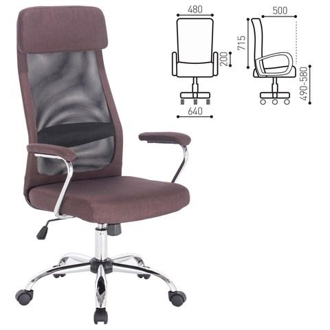 Кресло офисное BRABIX Flight EX-540, хром, ткань, сетка, коричневое, 531849 - фото 21539