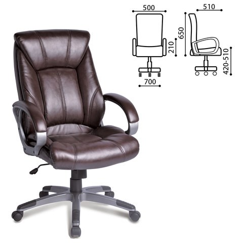 Кресло офисное BRABIX Maestro EX-506, экокожа, коричневое, 530878 - фото 21555