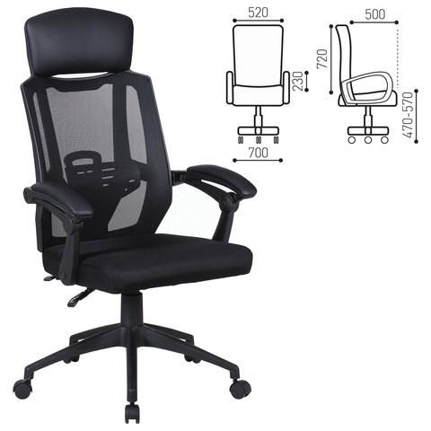 Кресло офисное BRABIX Nexus ER-401, синхромеханизм, подголовник, черное, 531835 - фото 21557