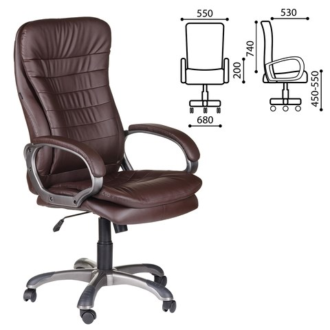Кресло офисное BRABIX Omega EX-589, экокожа, коричневое, 531401 - фото 21558