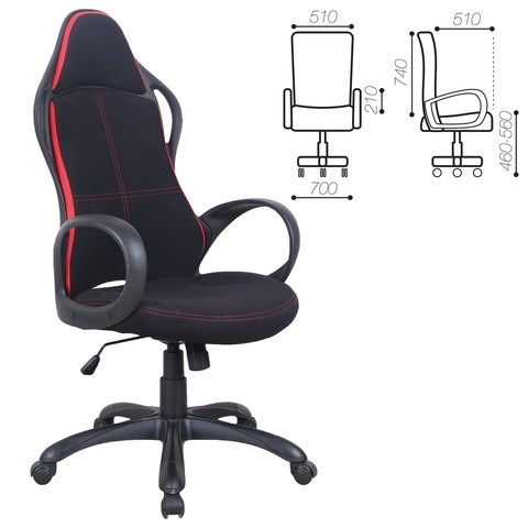 Кресло офисное BRABIX PREMIUM Force EX-516, ткань, черное/вставки красные, 531571 - фото 21564