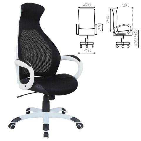 Кресло офисное BRABIX PREMIUM Genesis EX-517, пластик белый, ткань/экокожа/сетка черная, 531573 - фото 21567