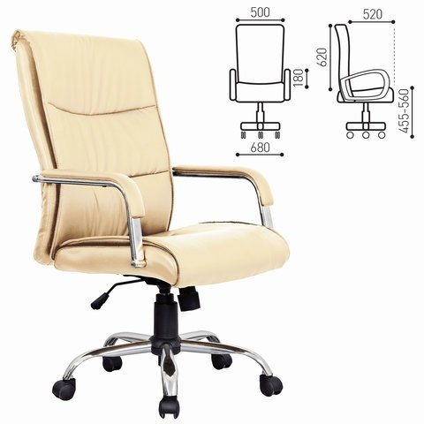Кресло офисное BRABIX Space EX-508, экокожа, хром, бежевое, 531165 - фото 21583