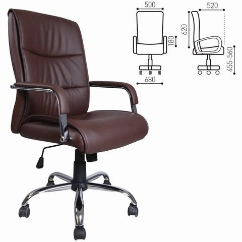 Кресло офисное BRABIX Space EX-508, экокожа, хром, коричневое, 531164 - фото 21584