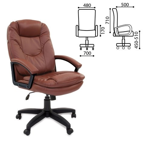 Кресло офисное BRABIX Trend EX-568, экокожа, коричневое, 531396 - фото 21596