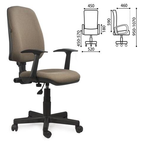Кресло BRABIX Basic MG-310, с подлокотниками, коричневое KB-28, 531414 - фото 21603