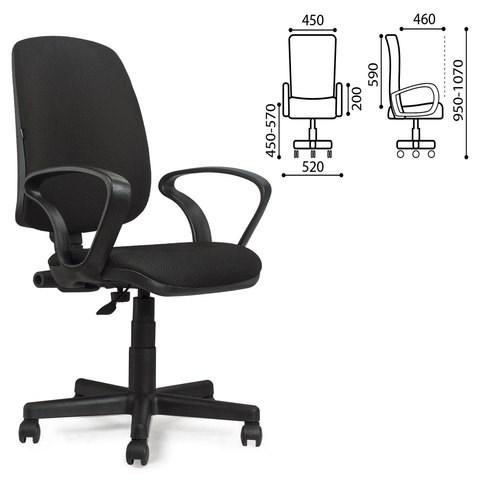 Кресло BRABIX Basic MG-310, с подлокотниками, черное JP-15-2, 531409 - фото 21607