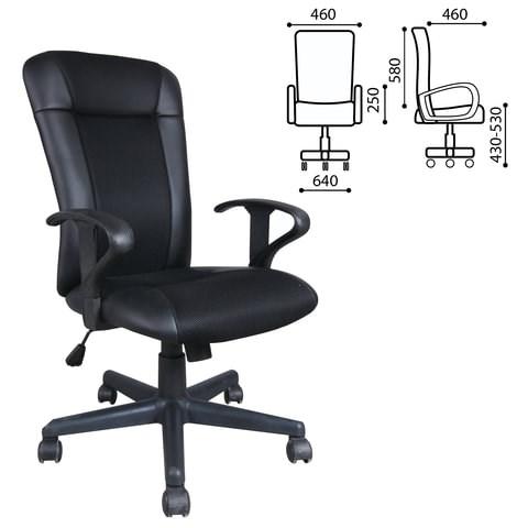Кресло BRABIX Optima MG-370, с подлокотниками, экокожа/ткань, черное, 531580 - фото 21619