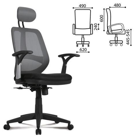 Кресло BRABIX Saturn ER-400, с подголовником, комбинир. черное/серое, 530871 - фото 21627
