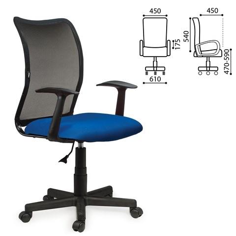 Кресло BRABIX Spring MG-307, с подлокотниками, комбинир. синее/черное TW, 531404 - фото 21629