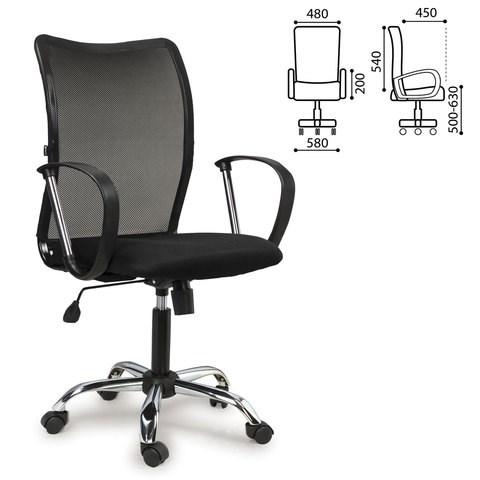 Кресло BRABIX Spring MG-308, с подлокотниками, хром, ткань черная TW, 531403 - фото 21631