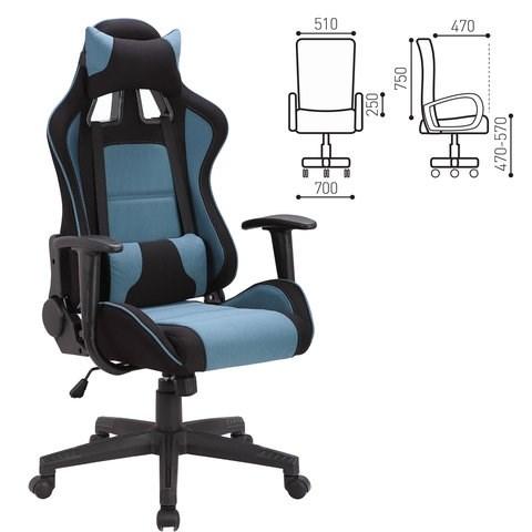Кресло компьютерное BRABIX GT Racer GM-100, две подушки, ткань, черное/голубое, 531818 - фото 21639