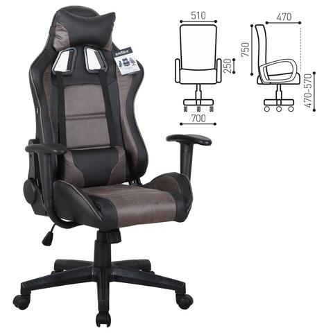 Кресло компьютерное BRABIX GT Racer GM-100, две подушки, ткань, экокожа, черное/коричневое, 531819 - фото 21640