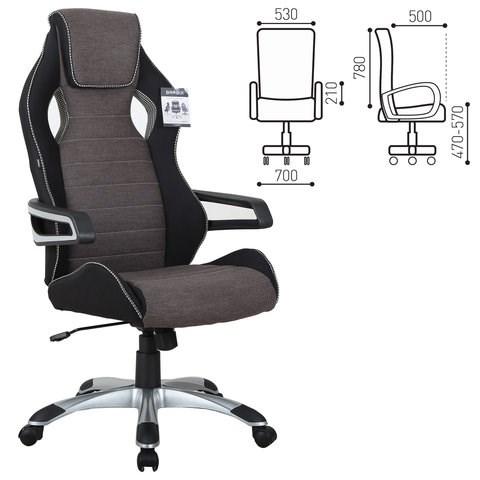 Кресло компьютерное BRABIX Techno GM-002, ткань, черное/серое, вставки белые, 531815 - фото 21644