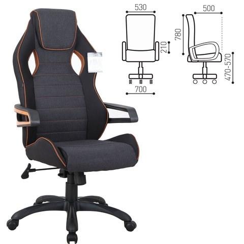 Кресло компьютерное BRABIX Techno Pro GM-003, ткань, черное/серое, вставки оранжевые, 531813 - фото 21645
