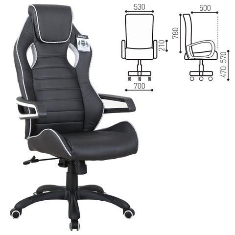 Кресло компьютерное BRABIX Techno Pro GM-003, экокожа, черное/серое, вставки серые, 531814 - фото 21646