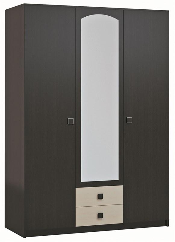 """Шкаф трёхдверный с 2 ящиками и с зеркалом """"Люсси"""""""