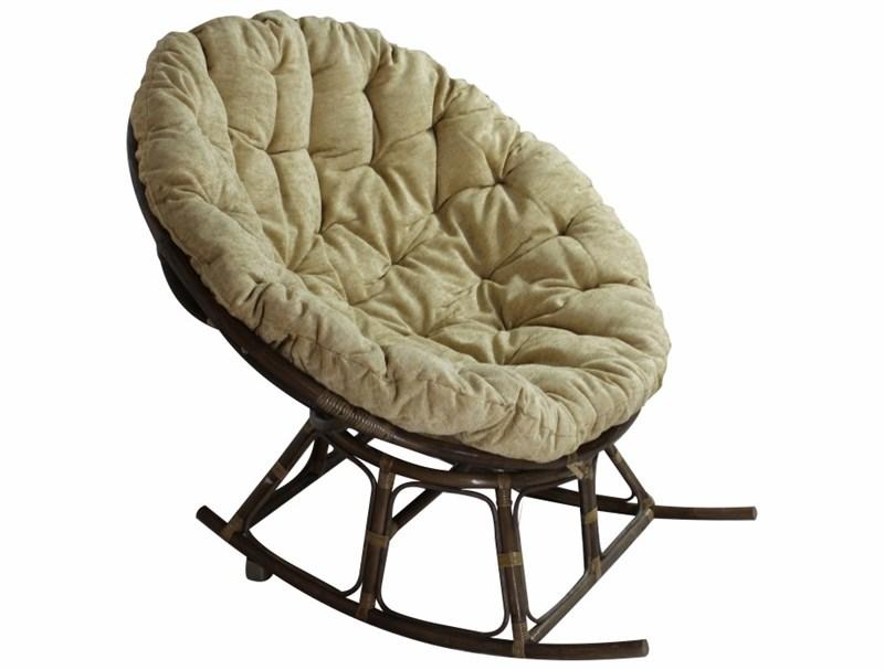 """Кресло-качалка с подушкой """"PAPASAN ROCKING"""", ротанг №6 + ткань MULAN 141 (110*110) - фото 22850"""