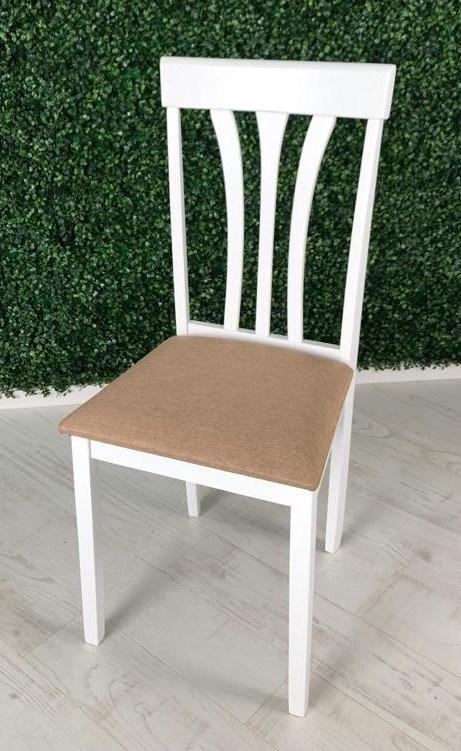 HV FRANKLIN стул обеденный, цвет WHITE/ткань NV-3WP светло-коричневый - фото 24458
