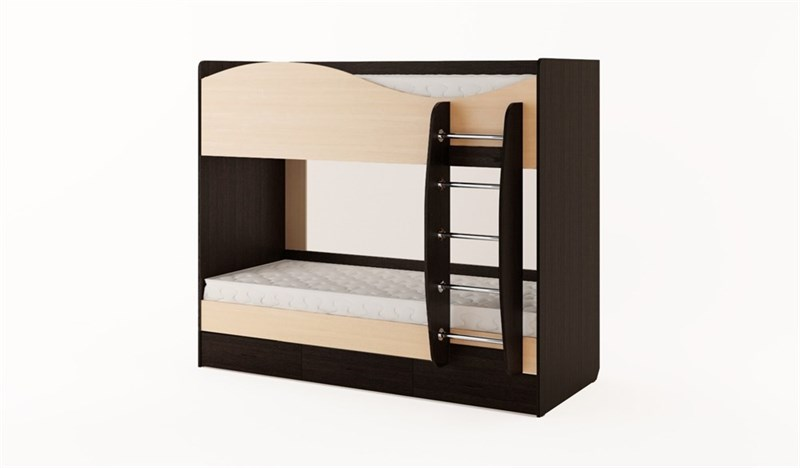 Кровать двухъярусная с ящиками венге-беленый дуб