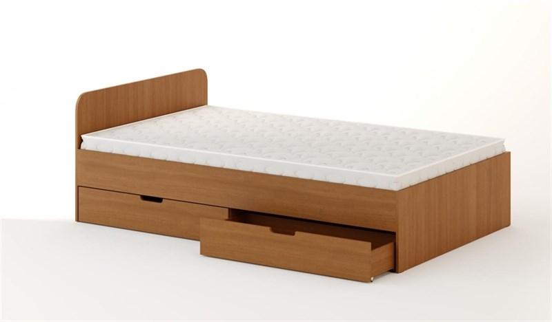 Кровать с ящиками 1200 темный бук
