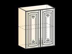 """Шкаф навесной L600 H720 (2 дв. гл.) (эмаль) с фрезкой """"Бергамо"""""""