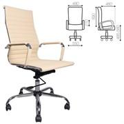 Кресло офисное BRABIX Energy EX-509, рециклированная кожа, хром, бежевое, 531166