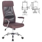 Кресло офисное BRABIX Flight EX-540, хром, ткань, сетка, коричневое, 531849