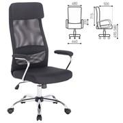 Кресло офисное BRABIX Flight EX-540, хром, ткань, сетка, черное, 531847
