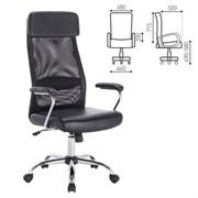 Кресло офисное BRABIX Flight EX-540, хром, экокожа, сетка, черное, 531850