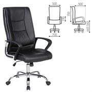 Кресло офисное BRABIX Forward EX-570, хром, экокожа, черное, 531837
