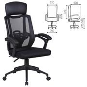 Кресло офисное BRABIX Nexus ER-401, синхромеханизм, подголовник, черное, 531835