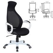 Кресло офисное BRABIX PREMIUM Genesis EX-517, пластик белый, ткань/экокожа/сетка черная, 531573