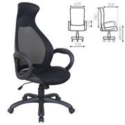 Кресло офисное BRABIX PREMIUM Genesis EX-517, пластик черный, ткань/экокожа/сетка черная, 531574