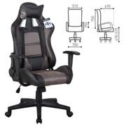 Кресло компьютерное BRABIX GT Racer GM-100, две подушки, ткань, экокожа, черное/коричневое, 531819