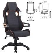 Кресло компьютерное BRABIX Techno Pro GM-003, ткань, черное/серое, вставки оранжевые, 531813