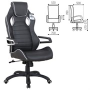 Кресло компьютерное BRABIX Techno Pro GM-003, экокожа, черное/серое, вставки серые, 531814