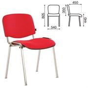Стул для персонала и посетителей BRABIX Iso CF-001, хром.каркас, ткань красная с черным(С-16),531423