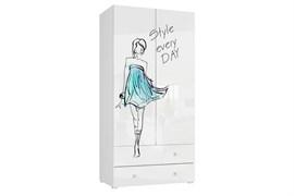 """Шкаф 2х-дверный с ящиком """"Модерн"""" (белый/стиль)"""