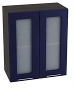 """Кухня """"Валерия-М"""" Синий глянец"""" ШВС 600 Шкаф верхний двухдверный со стеклом"""