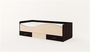 Кровать детская с ящиками «Волна» венге-беленый дуб